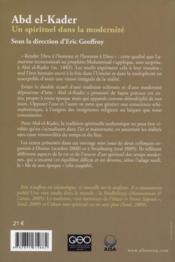 Abd el-Kader ; un spirituel dans la modernité - 4ème de couverture - Format classique