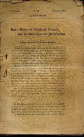 KARL MARX et FREDERIC ENGELS sur la dictature du PROLETARIAT - EXTRAIT DE L'AVENIR - N°54 - OCTOBRE 1920 - 5e année. - Couverture - Format classique