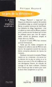 Prix De La Difference - 4ème de couverture - Format classique