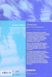 Dioxines dans l'environnement ; quels risques pour la santé ? - 4ème de couverture - Format classique