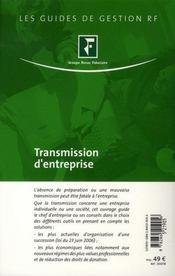 Transmission d'entreprise. à jour de la réforme du droit des successions - 4ème de couverture - Format classique