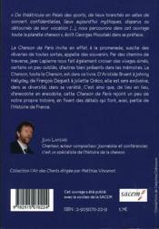 La chanson de Paris - 4ème de couverture - Format classique