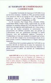 Au Tournant De L'Independance Camerounaise - 4ème de couverture - Format classique
