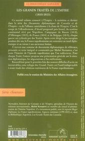 Documents diplomatiques du Consulat et de l'Empire t.3 ; les grands traités de l'Empire, 1810-1815 - 4ème de couverture - Format classique