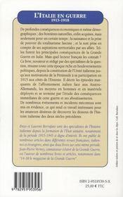 L'italie en guerre 1915-1918 - 4ème de couverture - Format classique