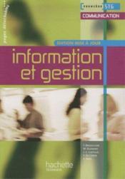 Information et gestion ; 1ère STG communication ; livre de l'élève - Couverture - Format classique