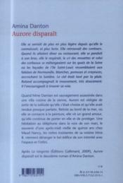 Aurore disparait - 4ème de couverture - Format classique