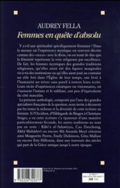 Femmes en quête d'absolu ; anthologie de la mystique au féminin - 4ème de couverture - Format classique