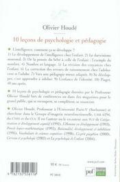 10 leçons de psychologie et pédagogie - 4ème de couverture - Format classique