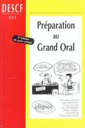Preparation Au Grand Oral Descf Uv3 2e Edition 46 Sujets Corriges - Intérieur - Format classique