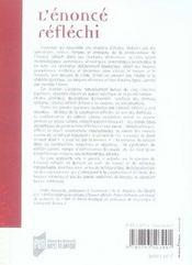 L'énoncé réfléchi - 4ème de couverture - Format classique