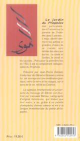 Le jardin du prophete - 4ème de couverture - Format classique