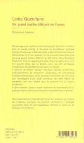 Lama Guendune ; un grand maître tibétain en France - 4ème de couverture - Format classique