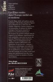 Les élites rurales dans l'Europe médiévale et moderne - 4ème de couverture - Format classique