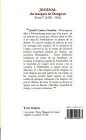 Journal de la cour du roi soleil t.5 (1690-1691) ; Monseigneur le Grand Dauphin - 4ème de couverture - Format classique