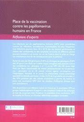 Place de la vaccination contre les papillomavirus humains en france - 4ème de couverture - Format classique