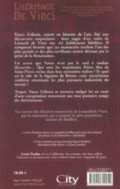 L'heritage da vinci - 4ème de couverture - Format classique