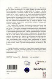 François Bon ; éclats de réalité - 4ème de couverture - Format classique
