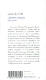 L'Europe expliquée aux jeunes - 4ème de couverture - Format classique
