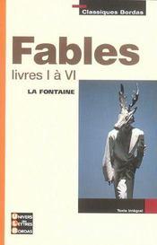 Fables ; livres I à VI - Intérieur - Format classique