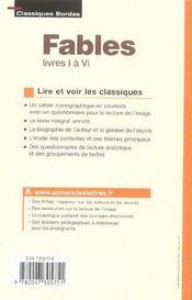 Fables ; livres I à VI - 4ème de couverture - Format classique