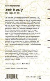 Carnets de voyage ; Congo-Belgique (1945-1959) - 4ème de couverture - Format classique