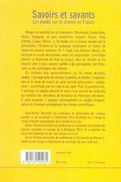 Savoirs et savants : les études sur la science en France - 4ème de couverture - Format classique
