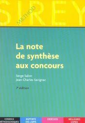 La Note De Synthese Aux Concours - Intérieur - Format classique