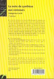 La Note De Synthese Aux Concours - 4ème de couverture - Format classique