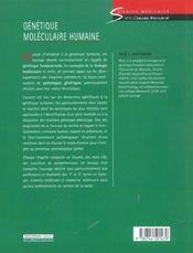 Génétique moléculaire humaine ; une intorduction aux mécanismes des maladies héréditaires - 4ème de couverture - Format classique