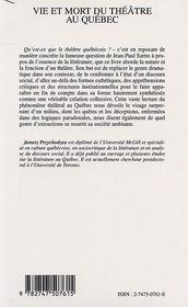 Vie et mort du theatre au quebec - introduction a une theatritude - 4ème de couverture - Format classique