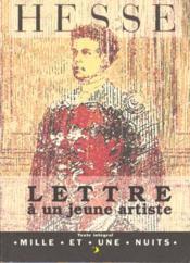 Lettre a un jeune artiste - Couverture - Format classique