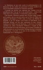 Le martinisme ; l'enseignement secret des maîtres - 4ème de couverture - Format classique
