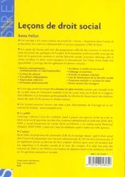 Lecons De Droit Social - 4ème de couverture - Format classique