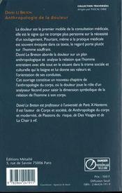 Anthropologie De La Douleur - 4ème de couverture - Format classique