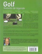 Golf, instants de legende - 4ème de couverture - Format classique