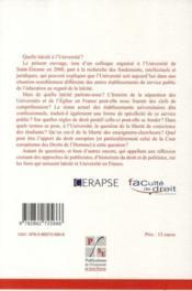 Université et laïcité - 4ème de couverture - Format classique