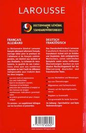 Dictionnaire general francais-allemand allemand-francais - 4ème de couverture - Format classique