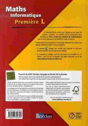 INDICE MATHS ; maths informatique ; Première L ; fichier (édition 2007) - 4ème de couverture - Format classique