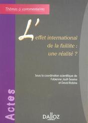 L'effet international de la faillite : une realite ? - Intérieur - Format classique