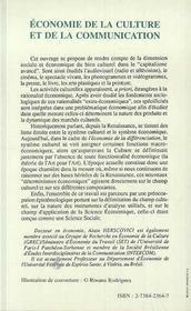 Economie De La Culture Et De La Communication - 4ème de couverture - Format classique