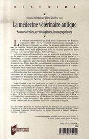 La médecine vétérinaire antique - 4ème de couverture - Format classique