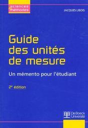 Guide des unités de mesure ; un mémento pour l'étudiant (2e édition) - Intérieur - Format classique