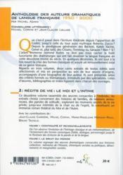 De Godot à Zucco, anthologie des auteurs dramatiques de la langue française 1950-2000 t.2 ; récits de vie : le moi et l'intime - 4ème de couverture - Format classique
