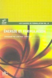 Les cahiers de formulation t.13 ; énergie et formulation - Intérieur - Format classique