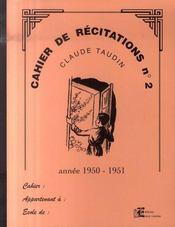 Cahier De Recitation N 2 - Intérieur - Format classique