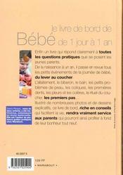 Le Livre De Bord De Bebe - 4ème de couverture - Format classique