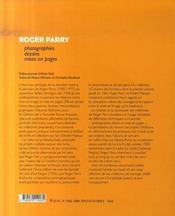 Roger Parry ; photographies, dessins et mises en page - 4ème de couverture - Format classique