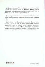 Physique Chimie Sciences Et Techniques Industrielles Corriges Des Epreuves 99 Mp Pc-Tpc Psi - 4ème de couverture - Format classique
