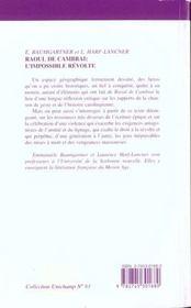 Raoul De Cambrai ; L'Impossible Revolte - 4ème de couverture - Format classique
